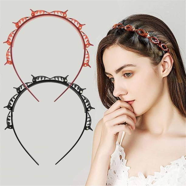 RosaStella Set of 2 Double Layer Twist Plait Headband Hairpin Double Bangs Hairstyle Hair Tools for Women Girls. Hair Band