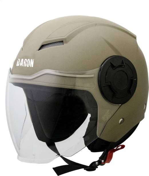 Steelbird Open Face Helmet, ISI Certified Helmet in Matt Desert Storm with Clear Visor Motorbike Helmet