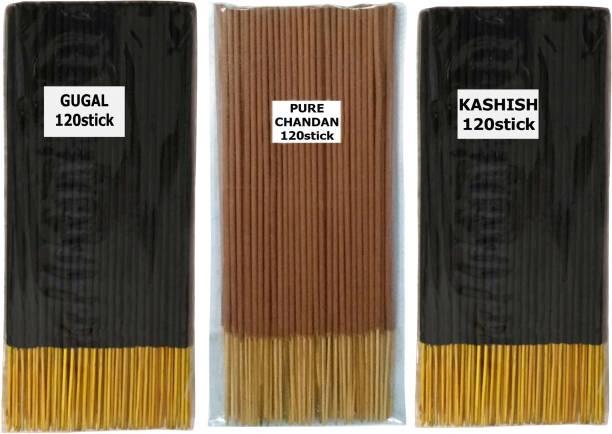 VEDIC FLOW 120 X 3 =360 PREMIUM QUALITY GRANTED AGARBATTI / TOTAL NO OF STICK 360/ GUGAL PURE CHANDAN AND KASHISH/buy original product from///MAAKRUPACREATION/// GUGAL, PURE CHANDAN, KASHISH