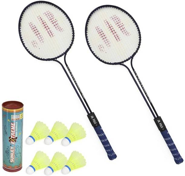 LARK Badminton Racquet Set Of 2 Piece With 6 Piece With Nylon Shuttle Cock Badminton Kit Badminton Kit