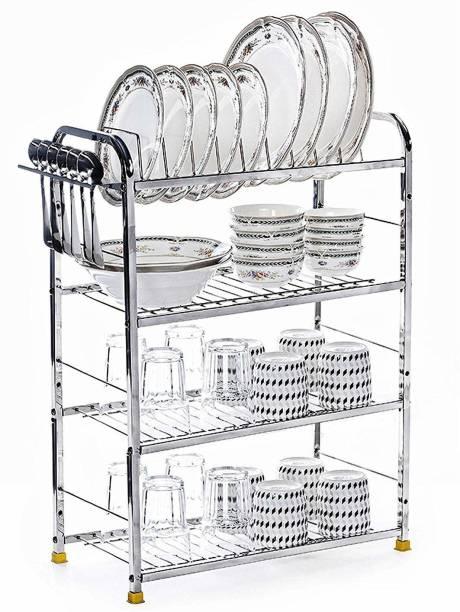 MAGS 4 LAYER Wall Mount Modern Kitchen Utensils Dish Rack Stainless Steel Kitchen Rack Utensil Rack Utensil Stand Utensil Kitchen Rack