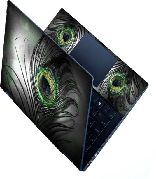 dzazner HD Printed Full Panel Laptop Skin Sticker Vinyl Fits Size Upto 15.6 inches No Residue, Bubble Free - Black Feather Vinyl Laptop Decal 15.6