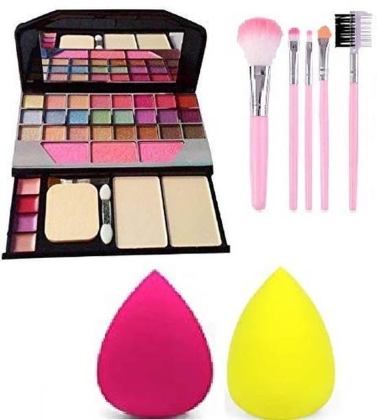 ozrik 6155 Makeup kit + 5 pcs Makeup Brush + 2 pc Blender Puff Combo