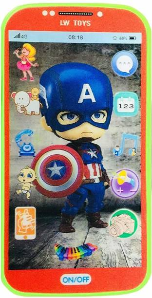 VBE Kids My First Touch Screen Mobile with Light and Sound Effect, A Neck Holder with Character Smartphone Toy