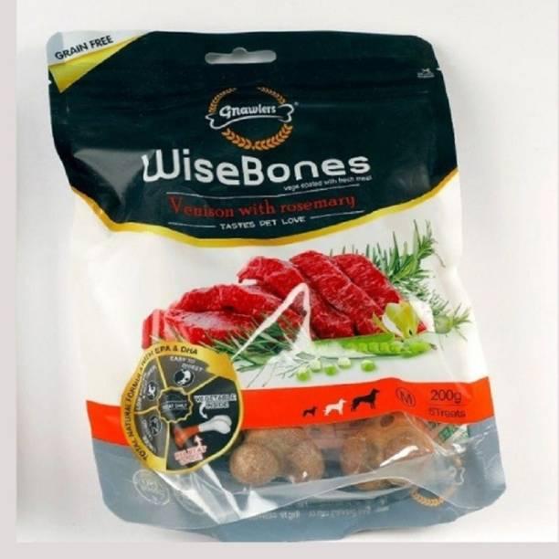 PET LIKES Gnawlers Wisebone Grain Free Dog Treat - Venison with Rosemary - 200 g (Medium) Venison 0.2 kg Dry Adult Dog Food