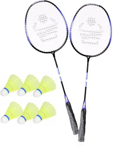 AS Badminton Single Shaft Racquet Set Of 2 Piece With 6 Piece cock Multicolor Strung Badminton Racquet