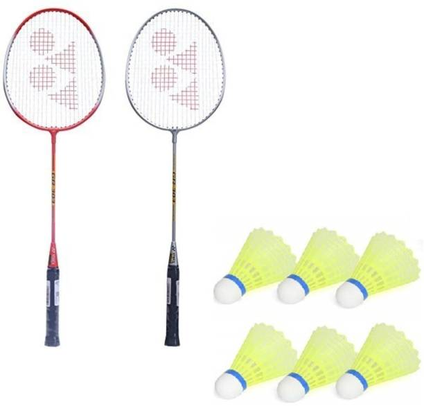 AS Badminton Set Of 2 Piece Racquet with 6 Piece Plastic Shuttle Single Shaft Red, Black, Blue, Green Strung Badminton Racquet