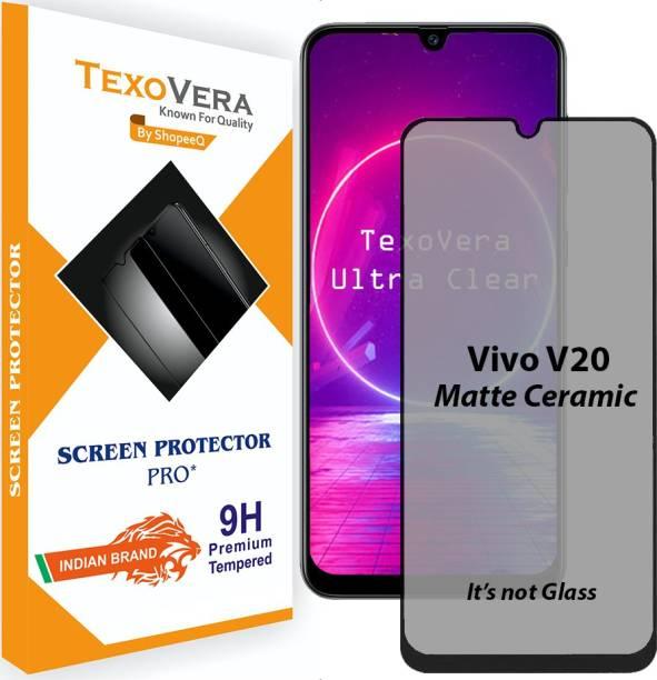TexoVera Edge To Edge Tempered Glass for Vivo V20, Oppo F15, Oppo F17, Vivo V20, Reno 3, Poco C3 matte with Camera cutout