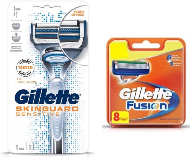 GILLETTE Skinguard manual shaving razor and Fusion 8s blade