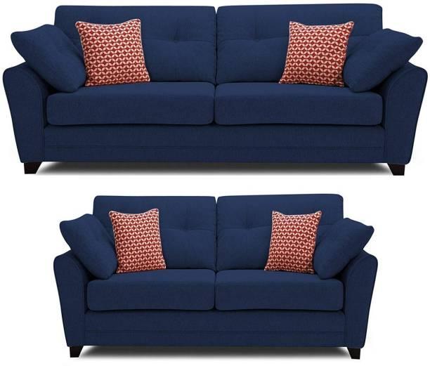 gnanitha Fabric 3 + 2 BLUE Sofa Set