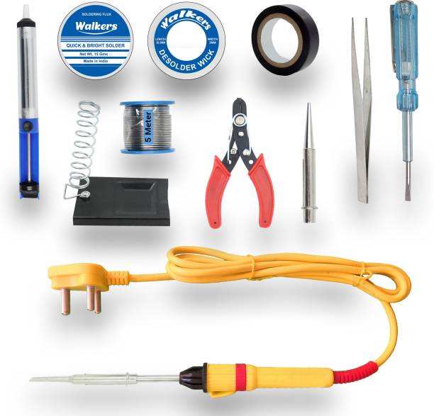 Walkers Electronic 11in1 Mobile Repairing Soldering and Desoldering Equipment Tool Machine Combo Kit Set with Flux Paste and Wire 25 W Simple