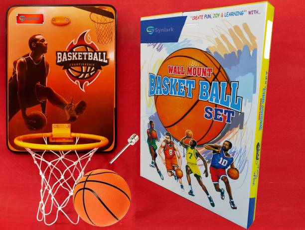 Synlark Basket Ball kit for Kids Playing Indoor Outdoor Basket Ball Hanging Board with Ball Sports Basketball