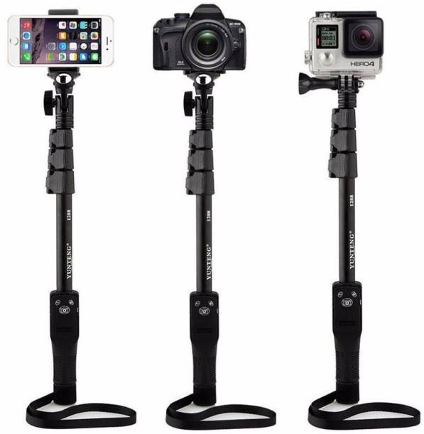 FKU Bluetooth Extendable Selfie Stick with Rechargeable Wireless Bluetooth Remote YT-1288 for Making TIK Tok, Vlog Videos,Apple iPhone, Android Samsung, & DLSR Cameras Tripod Stand for iPhone X/iPhone 8/8 Plus/iPhone 7/iPhone 7 Plus/Galaxy Note 8/Google More for Mobile and All Smart Phones (Black) Monopod