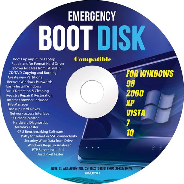 Compatible Ralix Windows Emergency Boot Disk - For Windows 98, 2000, XP, Vista, 7, 10 PC Repair DVD All in One Tool (Latest Version)