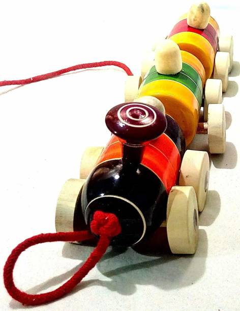 Smartcraft Handcrafted Wooden BoogieTrain Pull Along Toy - Multicolor
