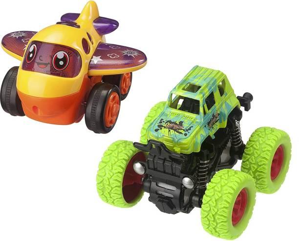 K A Enterprises Combo Set - Monster Truck (Green) + Aeroplane – for Toddlers, Baby, Kids(2 Pcs)