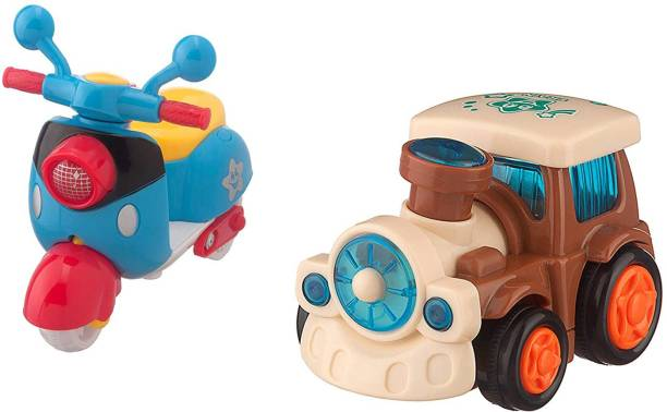 K A Enterprises Friction Toy Combo Pack of 2 Push and Go Toys. 1 Mini Train Engine + 1 Mini Scooter ( Set of 2 Cute Toys) - Toys For Kids, Toddlers, Baby, Child, Girls 3, 4, 5,6 and 7 Year Old Boys (2 Piece)