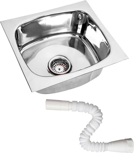 RENVOX 18X16X9 Inches Kitchen Sink With Plastic Pipe Glossy Finish Stainless Steel Sink Kitchen Accessories|Kitchen Sink Stainless Steel|Bathroom Accessories Single Bowl With adjustable PVC Pipe Vessel Sink