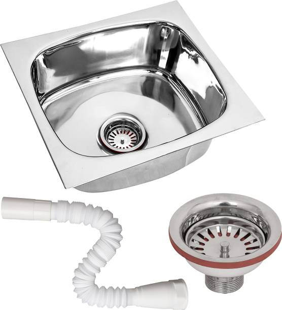 RENVOX 18X16X9 Inches Kitchen Sink Glossy Finish Stainless Steel Sink Kitchen Accessories|Kitchen Sink Stainless Steel|Bathroom Accessories Single Bowl With SS Coupling And adjustable Plastic Pipe Vessel Sink