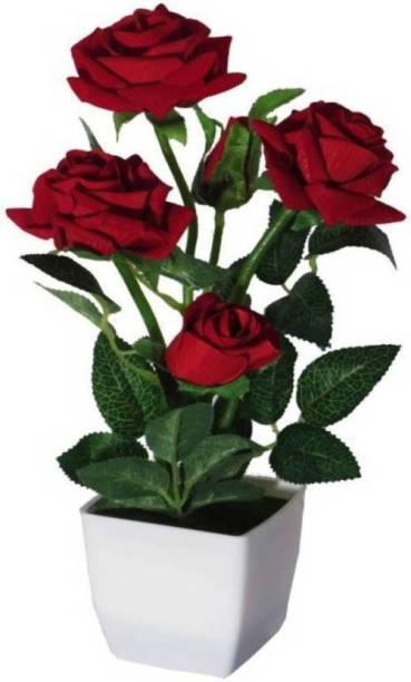 RASHMICREATION RASCR04 Red Rose Artificial Flower  with Pot