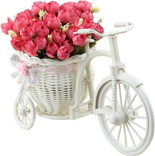 TIED RIBBONS Cycle Shape Vase with Red Peony Artificial Flower  with Pot