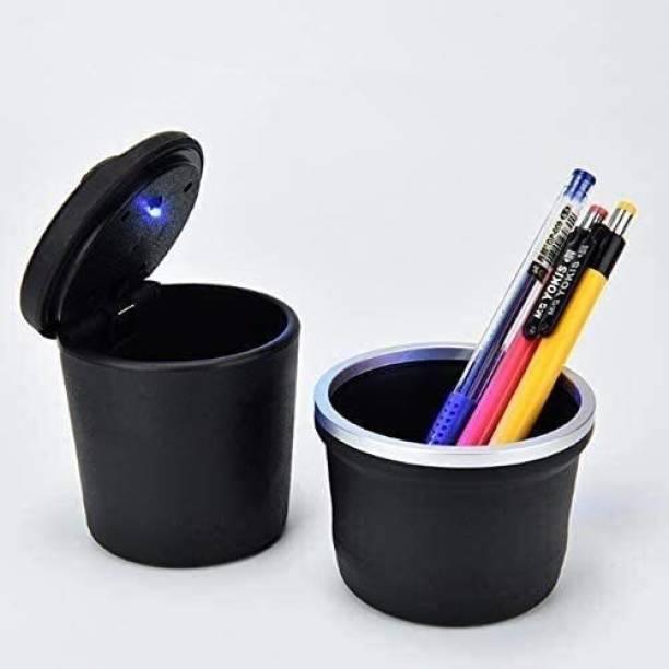 carfrill Blue Light Car Ashtray Cigarette Storage Holder Organizer Black w Cup Black, Silver Plastic, Stainless Steel Ashtray