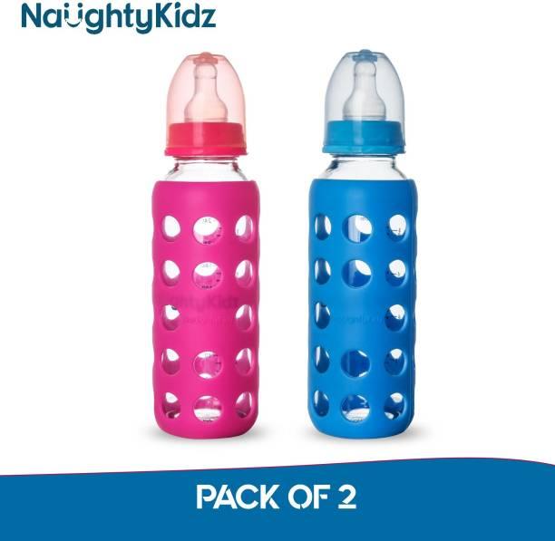 naughty kidz REGULAR WARMER Glass Baby Feeding Bottle WITH ULTRASOFT LSR NIPPLE||SILICONE BOTTLE WARMER||KEY TEETHER||HOOD RETAINING CAP AND SEALING DISC RING - 480 ml