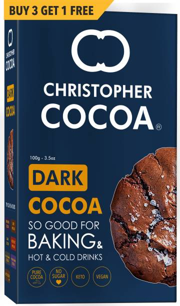 Christopher Cocoa Dark Cocoa Powder, Unsweetened, 100g Buy 3 Get 1 Free (Bake, Cake, Hot Chocolate, Drinking Shakes) Malt Milk Powder