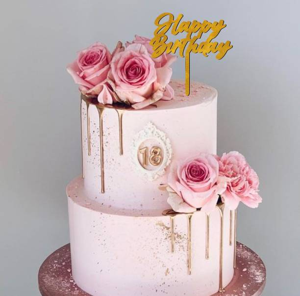 SUDARSHAN STICKER Gold Glitter Happy Birthday Cake Topper to Celebrate a Special Day Party Cake Decorations_GGCT02 Cake Topper