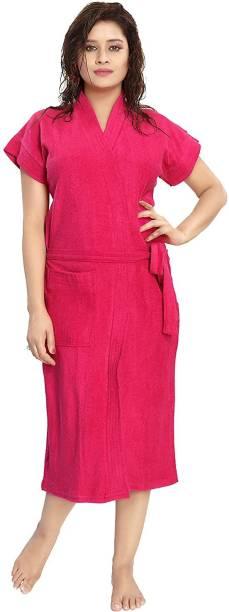 REGMESS Rose Pink Free Size Bath Robe