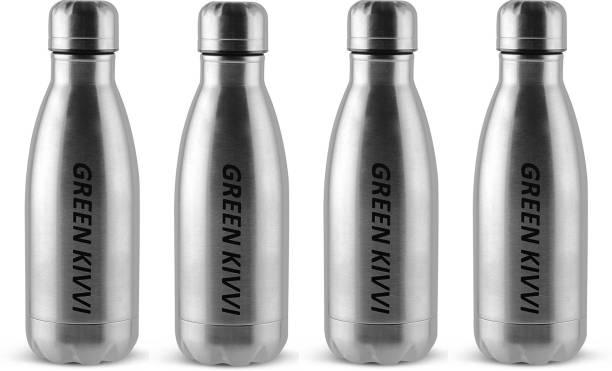 green kivvi Stainless Steel 500 mL Cold Water Bottle, Fridge and Sport Bottle (Pack Of 4) 500 ml Bottle