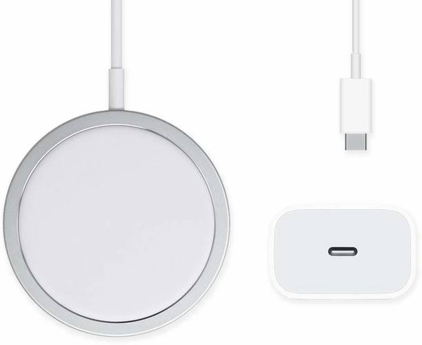 TechBlaze 2in1 Mag-Safe Wireless Charger with 20 W Dock for iPhone, Wireless Charger, 15W Fast Charging Qi Magnetic Charging Pad Compatible with iPhone 12, 12 Mini, 12 Pro, 12 Pro Max (USB C Port+ wireless charger) Charging Pad