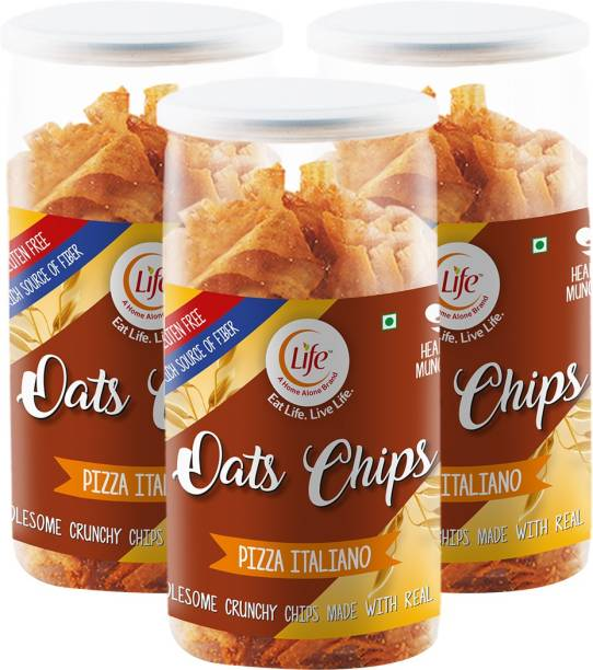 Life Healthy Gluten Free Oats Chips |Pizza Italiaon | Flavour (Each-110g) Munch Anytime Crunchy Snack |Pack of 3| (Combo Pack-330g) Chips