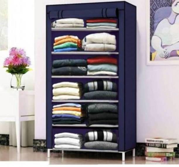 Cmerchants 6 Rack Collapsible Waardrobe-blue PP Collapsible Wardrobe