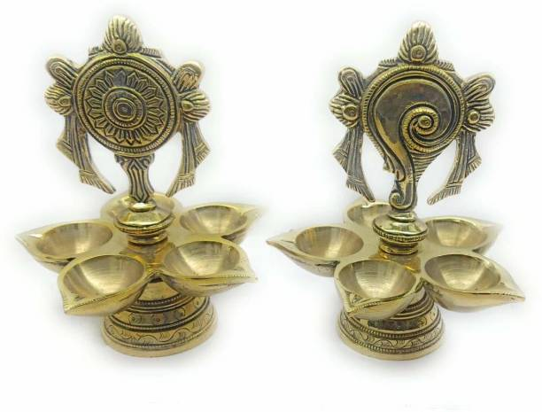 RAMA METAL Brass (Pack of 2) Table Diya Set