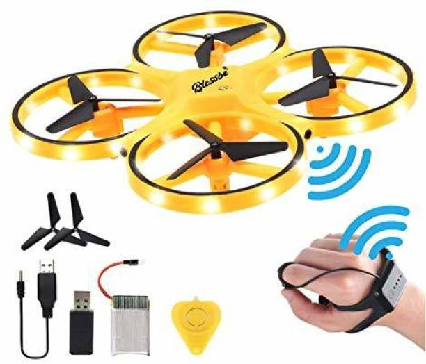 BLESSBE Drone For Kids With Hand Free Operated Child Mini Drone With Innovative Watch Hand Control Quadcopter Remote Control 360° Flip Action LED Light Toy Aircraft Yellow Drone