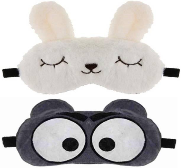 PRASJAL Cute cat & Big eye Blind Sleeping Eye Mask Slip Night Sleep Eye White and grey Super Soft & Smooth Travel Masks for Men Women Girls Boys Kids(White Cat & Big eye) pack of 2