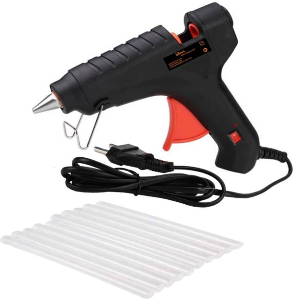 Hillgrove Electric 40 Watt Black Hot Gum Glue Gun With 10 Pcs Hot Melt Glue Stick for Craft, Art, Decoration Work Standard Temperature Corded Glue Gun