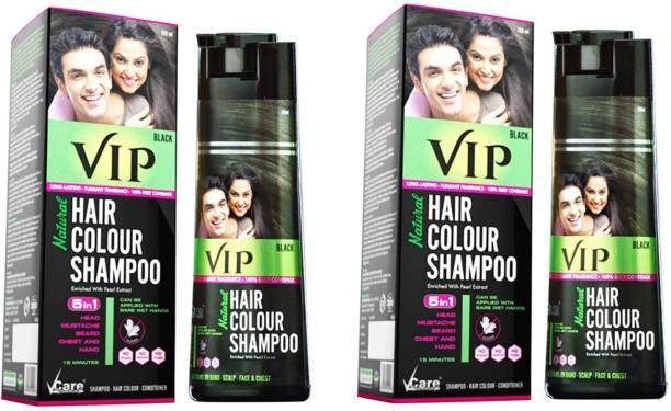 VIP Natural Hair Colour Shampoo BLACK, Each 180ml, Pack of 2 , Black