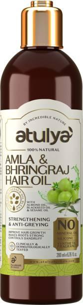 Atulya Amla & Bhringraj Hair Oil With Almond Oil, Blackseed Oil & Sesame Oil- Silicones, Parabens, Mineral Oil Free (100% Natural) Hair Oil