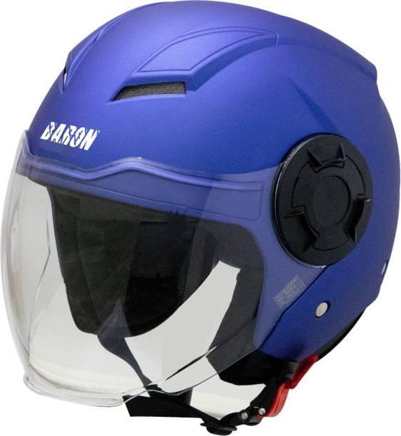 Steelbird Open Face Helmet, ISI Certified Helmet in Matt Y.Blue with Clear Visor Motorbike Helmet
