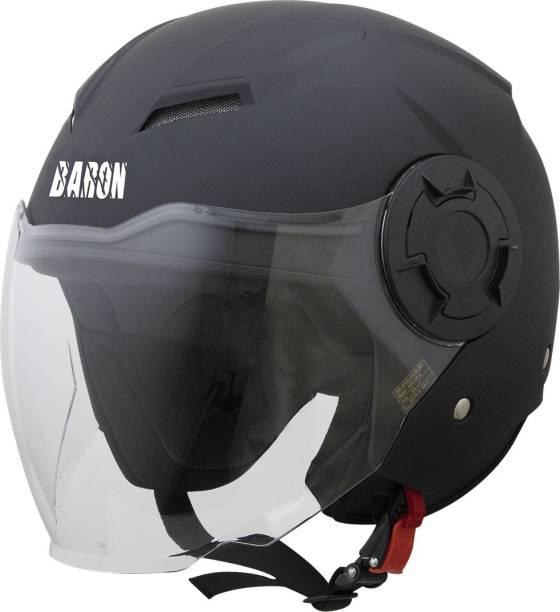 Steelbird Open Face Helmet, ISI Certified Helmet in Matt Black with Clear Visor Motorbike Helmet