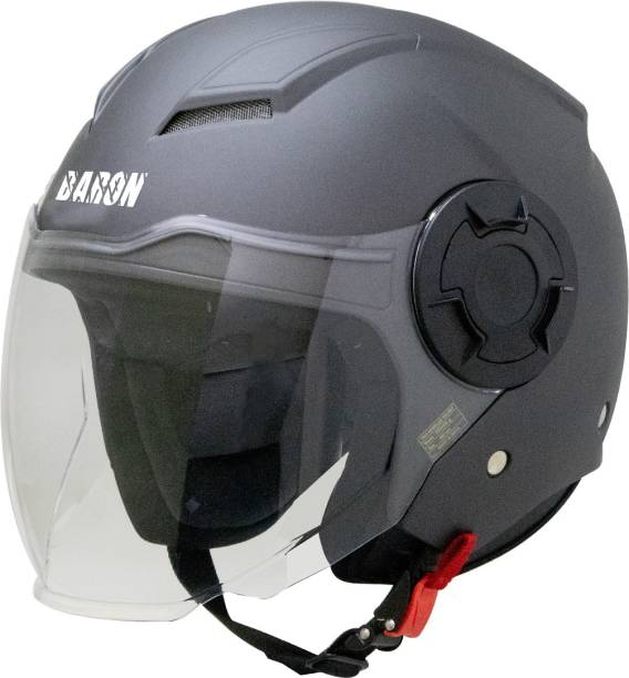 Steelbird Open Face Helmet, ISI Certified Helmet in Matt H.Grey with Clear Visor Motorbike Helmet
