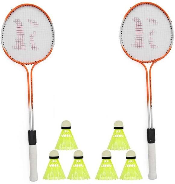 SPO Zone Badminton Set Of 2-Piece Racquet with 6 Piece Plastic Shuttle Cock (Badminton Kit) Badminton Kit