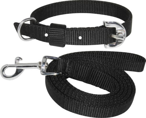 PEDIGONE Dog Belt Combo of Black Dog Collar with Dog Leash Specially for Medium Breed Under 30kg Dog Collar & Leash