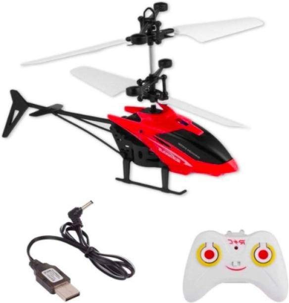 DCRYSTAL Plastic hand Induction Type 2-in-1 Flying Indoor Helicopter with Remote(Multicolor) (Multicolor)
