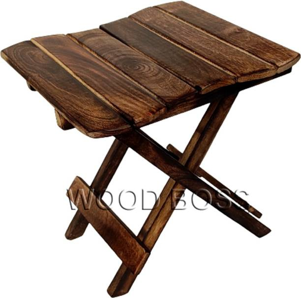 Woodboss Wood Boss Wooden Folding table for living room | Wooden Foldable stool for Home and Kitchen Solid Wood Side Table