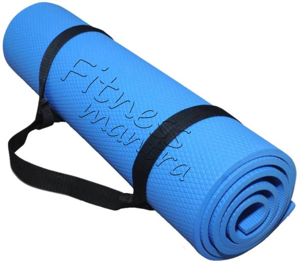 Fitness Mantra Low Price Yoga Mat with Carrying Strap Blue 6 mm Yoga Mat