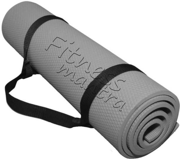 Fitness Mantra Low Price Yoga Mat with Carrying Strap Grey 6 mm Yoga Mat