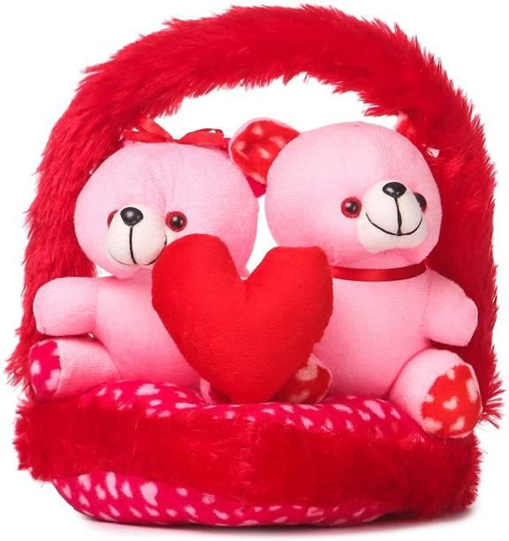 Shanshu Couple Love Teddy Bears in Basket- 30 cm, Pink For Velentine gift  - 12 inch